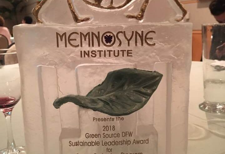 2018 Green Source DFW Sustainable Leadership Award presented to Promise of Peace Gardens