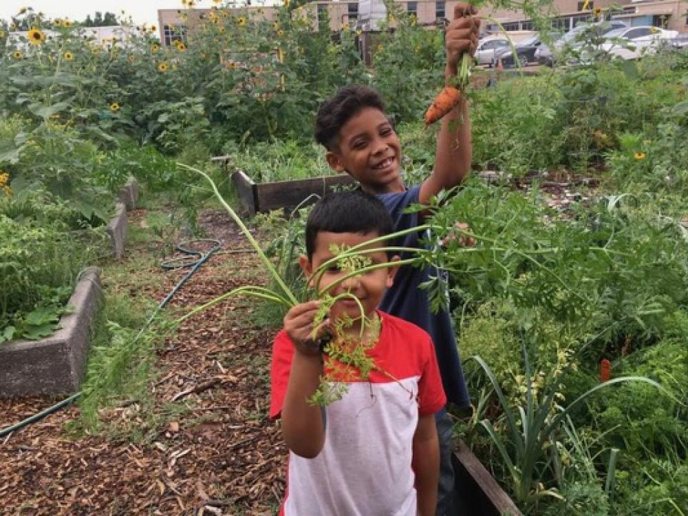 Students show off the fruits of their labor at a Promise of Peace Garden in Dallas.